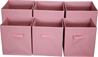 Sodynee FBA_SCB6PI Foldable Cloth Storage Cube Basket Bins Organizer Containers Drawers, 6 Pack, 11 x 10.5 x 10.5 in, New Pink