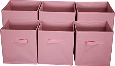Sodynee Foldable Cloth Storage Cube Basket Bins Organizer Containers Drawers,New Pink , 11 x 10.5 x 10.5 in,6 Pack, (FBA_S...