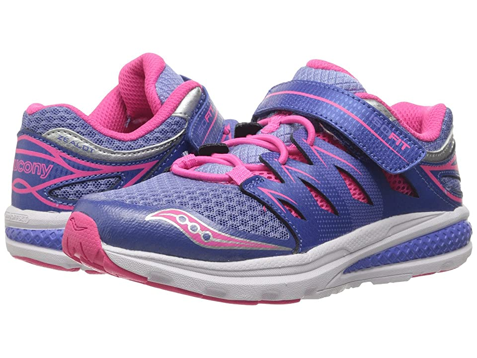 Saucony Kids Zealot 2 A/C (Little Kid) (Periwinkle/Pink) Girls Shoes