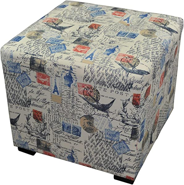 Sole Designs Merton Prime Natural Abstract Square Merton Collection Blue Orange 4 Button Upholstered Ottoman