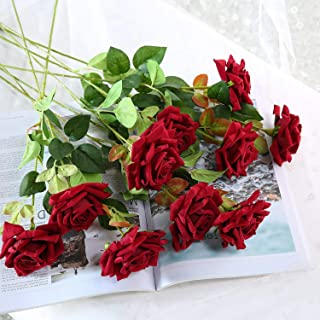JUSTOYOU Artificial Flowers Roses Velvet Flowers Fake Long Stem Red Artificial Roses for Wedding Home Decorations in Red 10pcs Rose Flowers Bouquet(Dark Red)