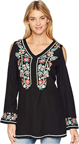 Camelotte Cold Shoulder Embroidered Tunic