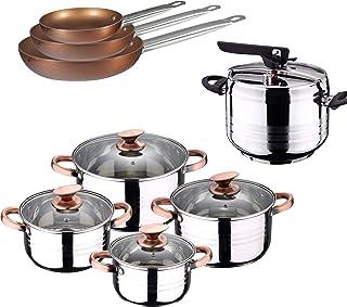 San Ignacio -  Batería de cocina 4 cacerolas 4 tapas de vidrio 1 Olla exprés 5 litros y 3 sartenes 18/22/26, acero inoxidable, inducción