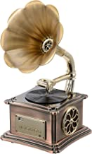 Mini Vintage Retro Classic Gramophone Phonograph Shape Stereo Speaker Sound System Music Box 3.5mm Audio Blue Tooth 4.2 Aux-in/USB Flash Drive with 1x 10w Speaker and 2 x 15w Speaker