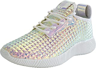 Women Metallic PU Leather Sneaker Lightweight Quilted Lace Up Pyramid Studded