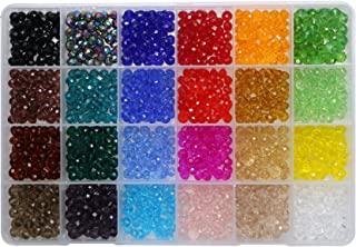 Shapenty 24 Colors 6mm Decorative Hand Briolette Faceted Rondelle Crystal Glass Beads with Hole for DIY Craft Bracelet Nec...