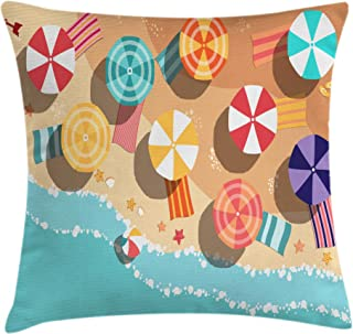 Ambesonne Beach Throw Pillow Cushion Cover by, Summertime Seacoast with Colorful Umbrellas Stars Flat Design Aerial View Vacation, Decorative Square Accent Pillow Case, 16 X 16 Inches, Multicolor