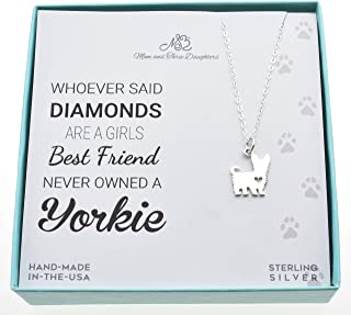 Yorkshire Terrier charm pendant in sterling silver on an 18