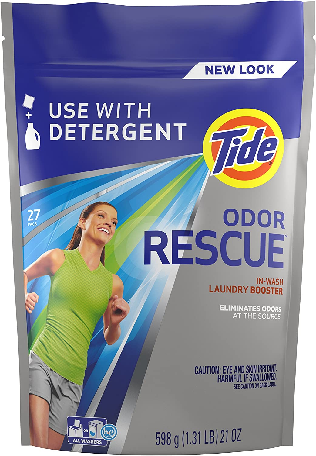 Tide Odor Rescue In-Wash Laundry Booster Pacs, 27 Count per pack, 21 Ounce (37000962243) : Health & Household