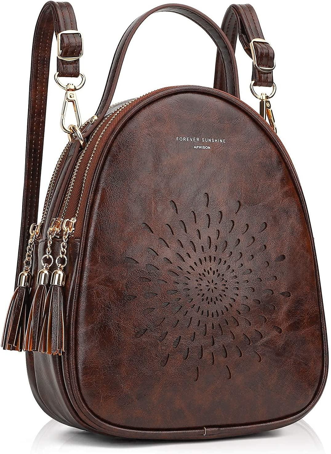 APHISON Womens Fashion Backpack & Top-Handle Bags Tote Bags 1953-8173-1 Coffee-Brown