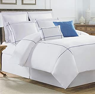 Hotel Collection Bedding 3 Piece King Size Bed Duvet Cover Set Embroidered Navy Blue Thread Geometric Border Stripes on White