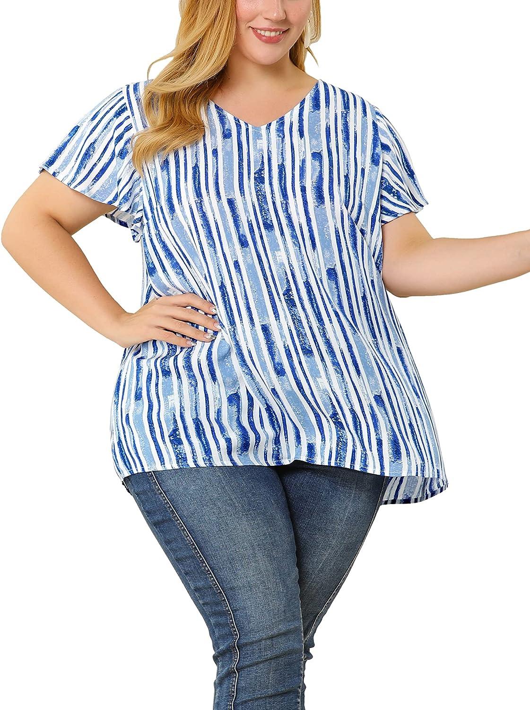 Agnes Orinda Plus Size Blouses for Women Stripe Prints Lightweight Ruffle Peplum Blouse
