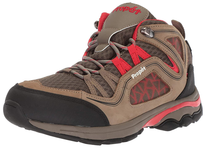 Propet Women's Peak Hiking Boot, Gunsmoke/red, 7H Medium Medium US
