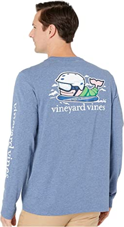 Long Sleeve Heathered Send It Whale Pocket Tee