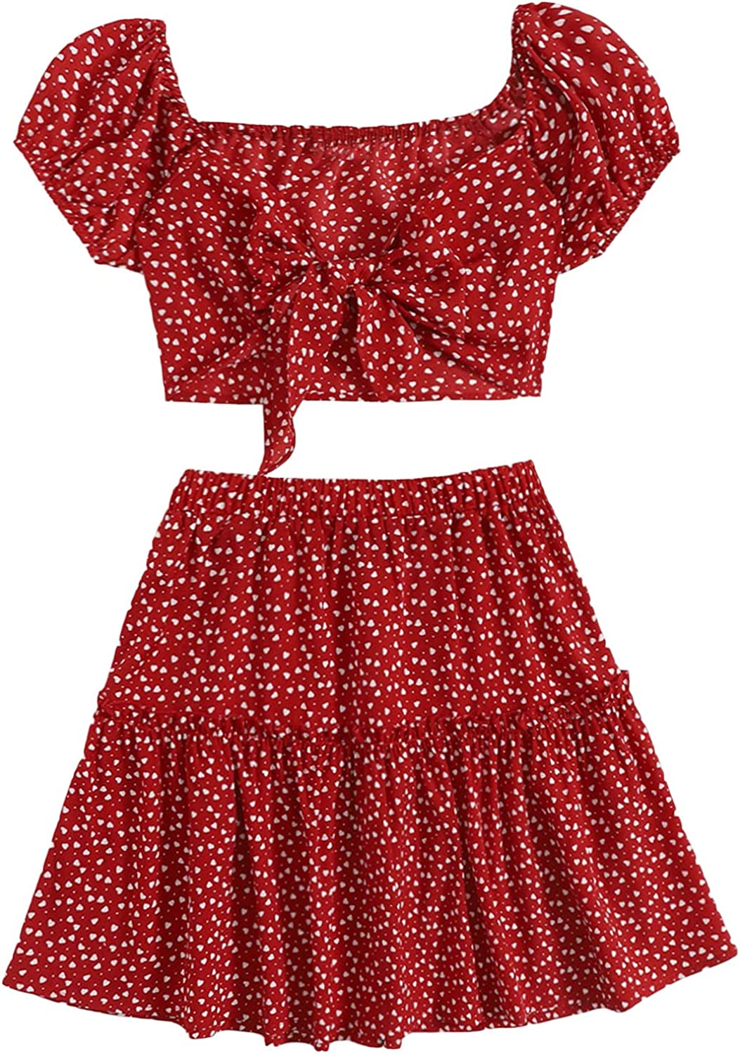 SheIn Women's Floral Tie Front Puff Short Sleeve Crop Top and Flared Mini Skirt Set Outfits