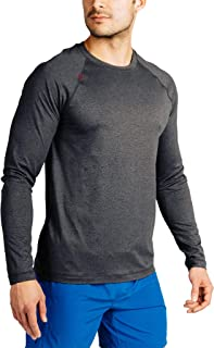 Rhone Men's Reign Long Sleeve Athletic Moisture Wicking Anti-Odor Workout Shirt (Black Heather, Large)