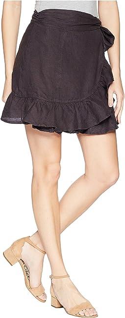 Blank NYC Hi Rise Ruffle Mini Skirt in Earl Grey