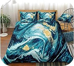 Blue Marble Bedding Set Marble Texture Duvet Cover Set Blue Bed Linen Grey Bedding Set Boys Girls-Blue Gold-AU Queen