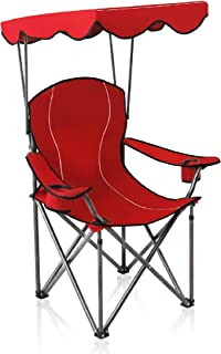 ALPHA CAMP Camp Chairs with Shade Canopy Chair Folding Camping Recliner Support 350 LBS - Red
