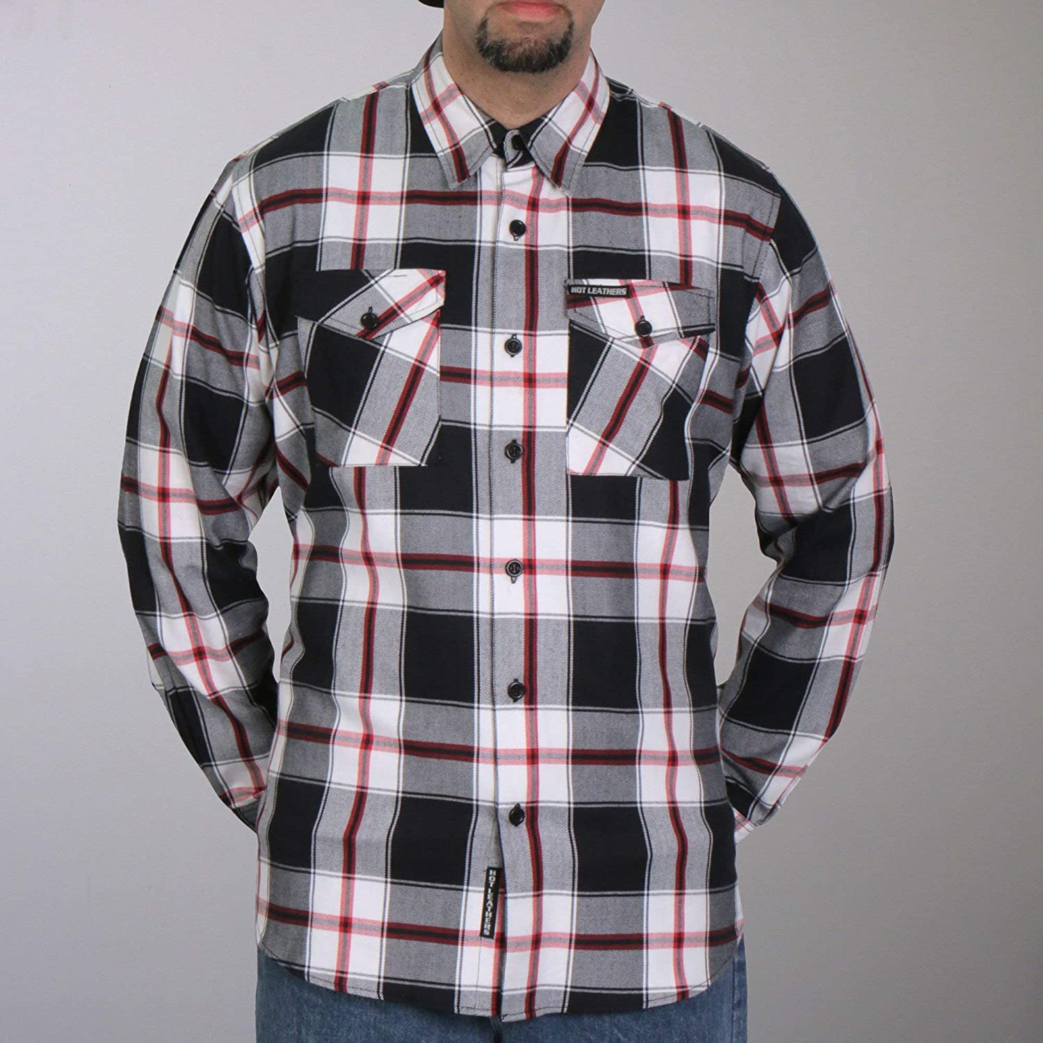 Hot Leathers FLM2003 Mens Black White and Red Long Sleeve Flannel Shirt