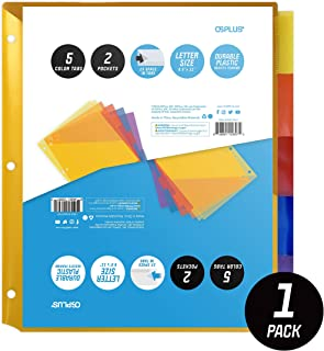 OS Plus 5-Tab Plastic Binder Dividers with 2 Pockets, Insertable Multicolor Big Tabs, 1 Set