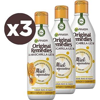 Garnier Original Remedies La Mascarilla - Leche Miel reparadora para pelo dañado y quebradizo - Pack de 3 x 250 ml: Amazon.es: Belleza