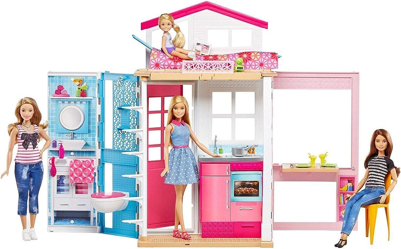 Barbie Mattel DVV48-2-Etagen Ferienhaus und Puppe, Ankleidepuppen-Zubehr