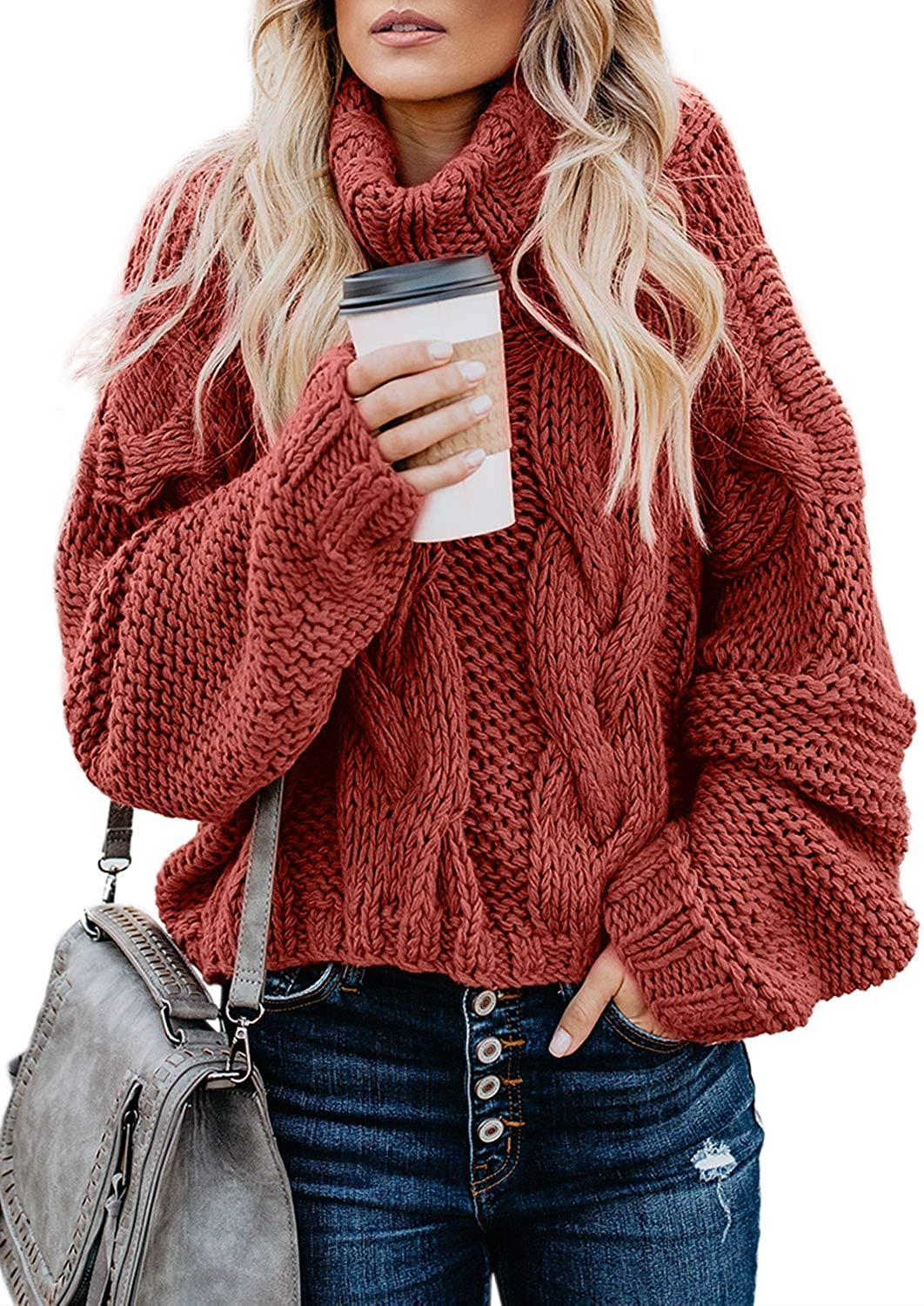 FARYSAYS Women's Casual Turtleneck Long Sleeve Loose Chunky Cable Knit Pullover Sweater Outerwear