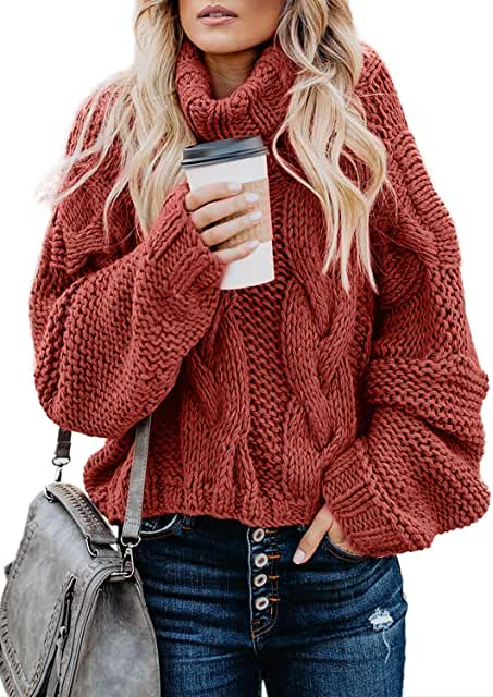 Women's Cable Knit Turtleneck Long Sleeve Oversize Chunky Pullover Sweater Outerwear