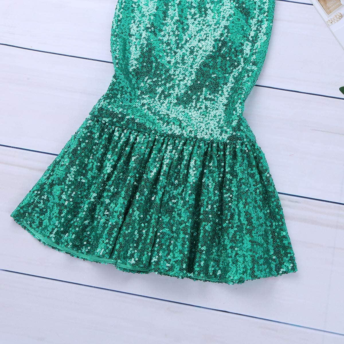 FEESHOW Toddler Little Girls Sequins Mermaid Tail Long Skirt with Top Halloween Cosplay Costumes Party Outfits