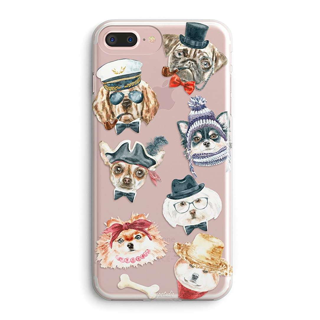 Compatible iPhone 8/iPhone 7 Case,Compatible Girls Puppy Funny Cute Cartoon Alaskan Malamute Labrador Retriever French Bulldog Dogs Attitude Animal Hipster Women Clear Soft Case for iPhone 7/iPhone 8