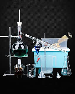 スーツケース付き1000mlエッセンシャルオイル蒸留装置実験用ガラス器具キットDIY蒸留器精製器化学教育機器