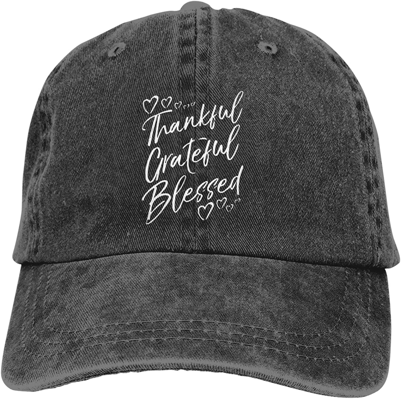 Denim Cap Grateful Thankful Blessed Baseball Dad Cap Classic Adjustable Casual Sports for Men Women Hats