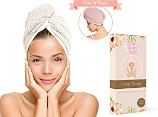 Premium Microfiber Hair Towel - Cut Blowdrying Time in Half With This Fast Drying Twisty Towel Turban (Creme)
