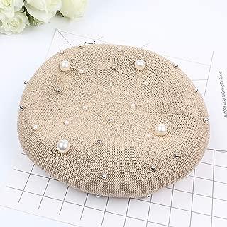 2019 Womens Hats Caps Female Spring Pearl Decoration Vellet Hat Fashion Loop Yarn Hat (Color : Beige, Size : Adjustable)