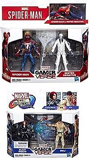 Double Super Marvel Gamer Verse Spider-Man Figure Pack Mister Negative + Ryu VS Black Widow Hero Bundle Set