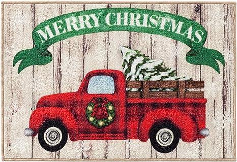 Amazon Com Natco Holiday Season Rug Retro Red Truck Kitchen Decor Non Skid Backing 20 X 30 Inches Kitchen Dining