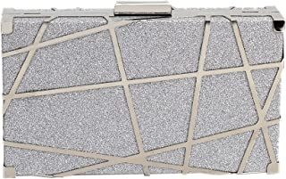 MEGAUK Damen Clutch Metall Glitzer Geometrische Abendtasche Glänzend Handtasche Unterarmtasche mit Kette für Hochzeit Wedd...