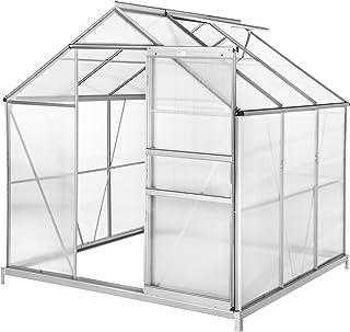 comprar comparacion TecTake Invernadero de jardín policarbonato Transparente Aluminio casero Plantas Cultivos 5,85m³ - Varios Modelos - (190x1...