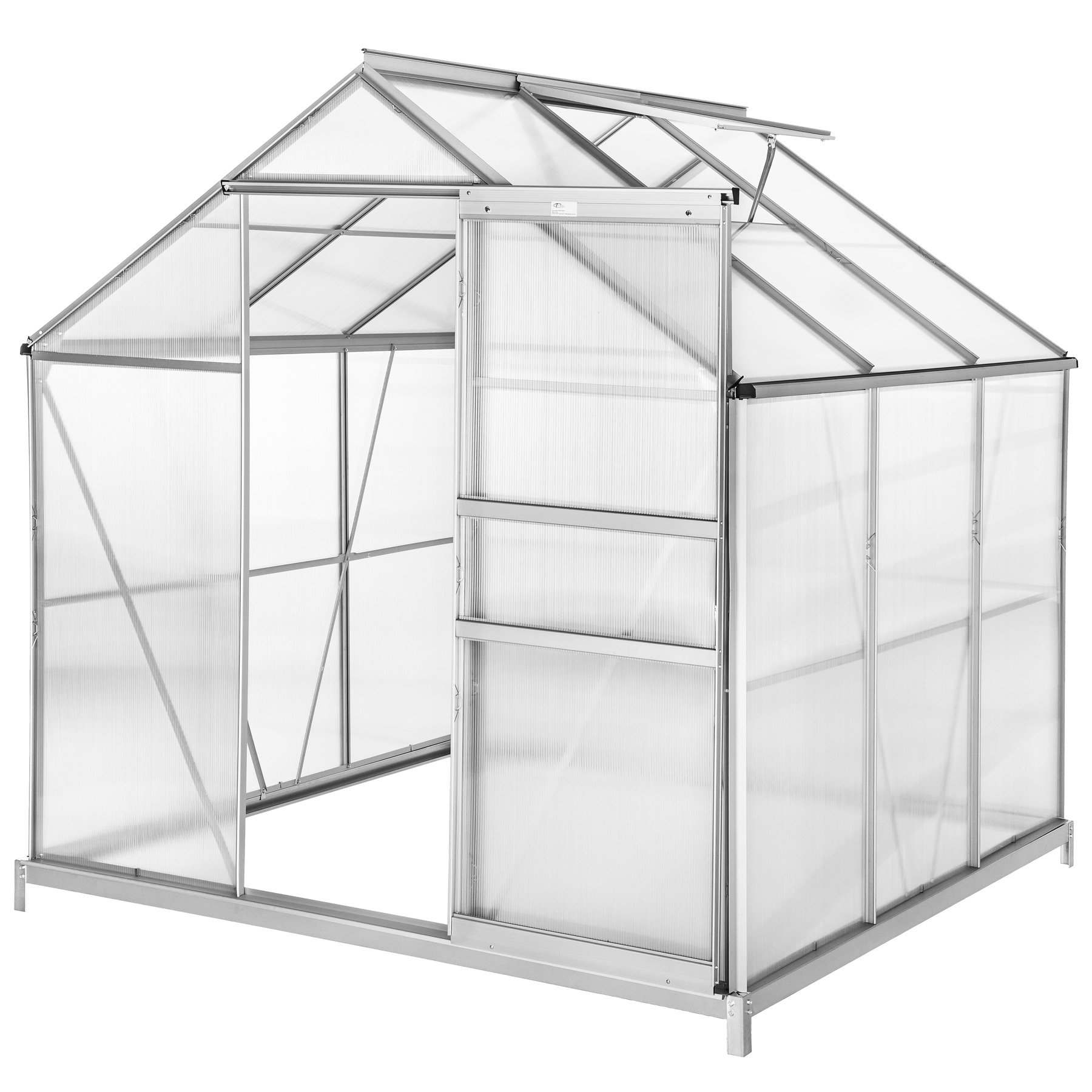 TecTake Invernadero de jardín policarbonato Transparente Aluminio casero Plantas Cultivos 5, 85m³ - Varios Modelos - (190x185x195 cm con Base | no. 402472): Amazon.es: Jardín