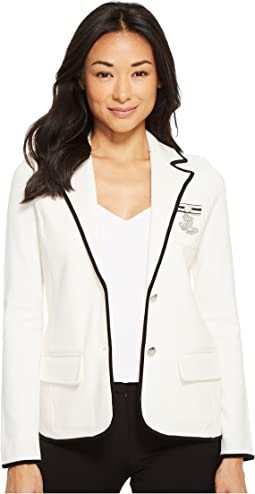 Petite Bullion-Embroidered Knit Blazer