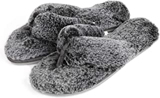 RockDove Women's Fuzzy Fur Thong Slippers with Memory Foam
