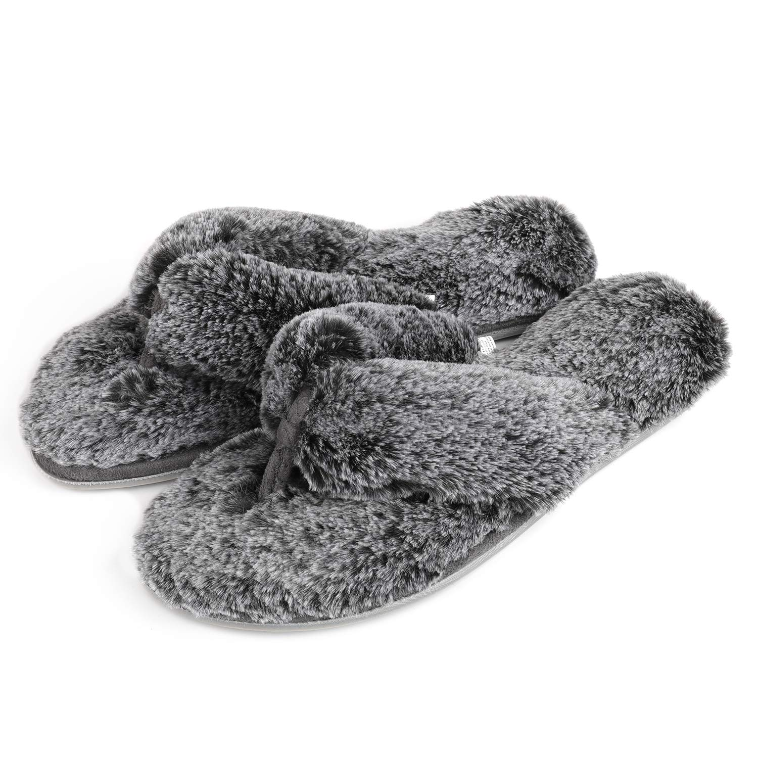 Image of Comfortable Fuzzy Thong Slippers for Women