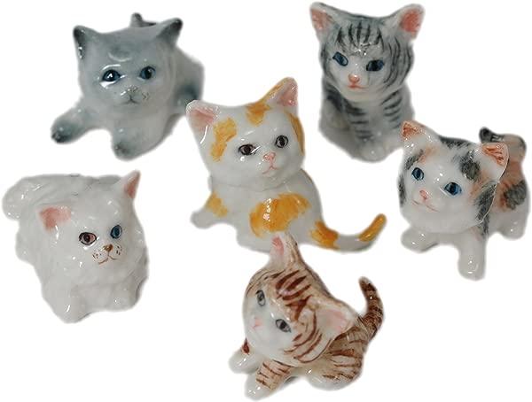 6 卡通猫咪小猫手工陶瓷陶艺微型动物公仔 0 5