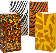 Party Favor Bags - (Pack of 24) Animal Print Safari, Zoo or Jungle Theme Goodie Bags in Bulk, Paper Lunch, Candy & Gift Bags by Bedwina