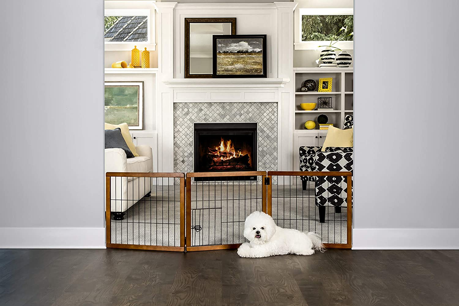 Carlson Pet Products Design Paw 62Inch Super Wide 3 Panel Premium Wooden Pet Gate