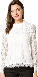 Women Blouse Puff Sleeved White Lace Long Sleeve Shirt Casual Loose Ruffle H.H2