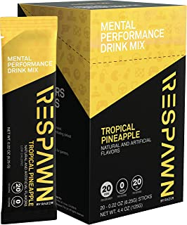 RESPAWN by Razer Mental Performance Drink Mix - 20 Packet Box: Convenient Individual Packs - 20 Calories - For Gamers. By Gamers - Tropical Pineapple