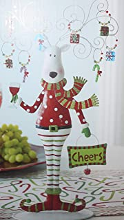 Pier 1 Novelty Christmas Holiday 15 Inch Tall Metal Reindeer with 8 Drink Wine Charms