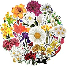 50Pcs Mixed Colorful Flowers Scrapbooking Stickers Vintage Style Beautiful Stickers for Stationery Children Toy Stickers